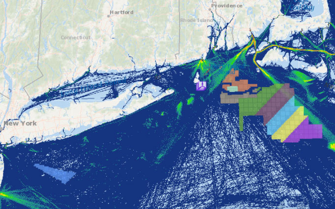 Offshore Wind Lease Areas, Operational Installations & Fishing Vessel Activity (Transit Counts in 2017)